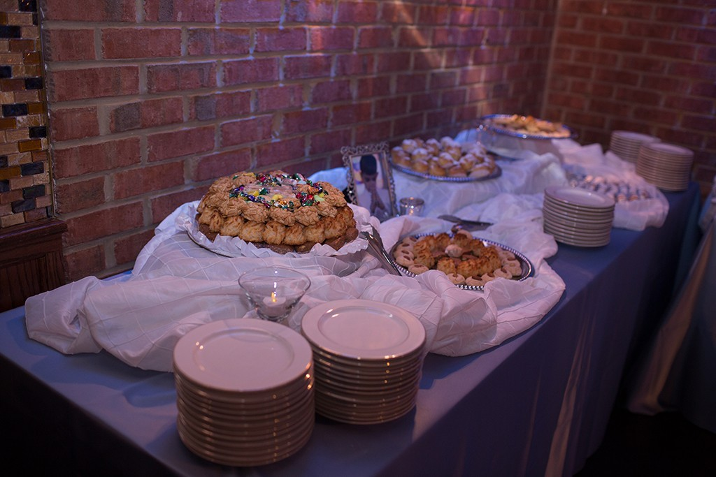 Catered dessert table with plates