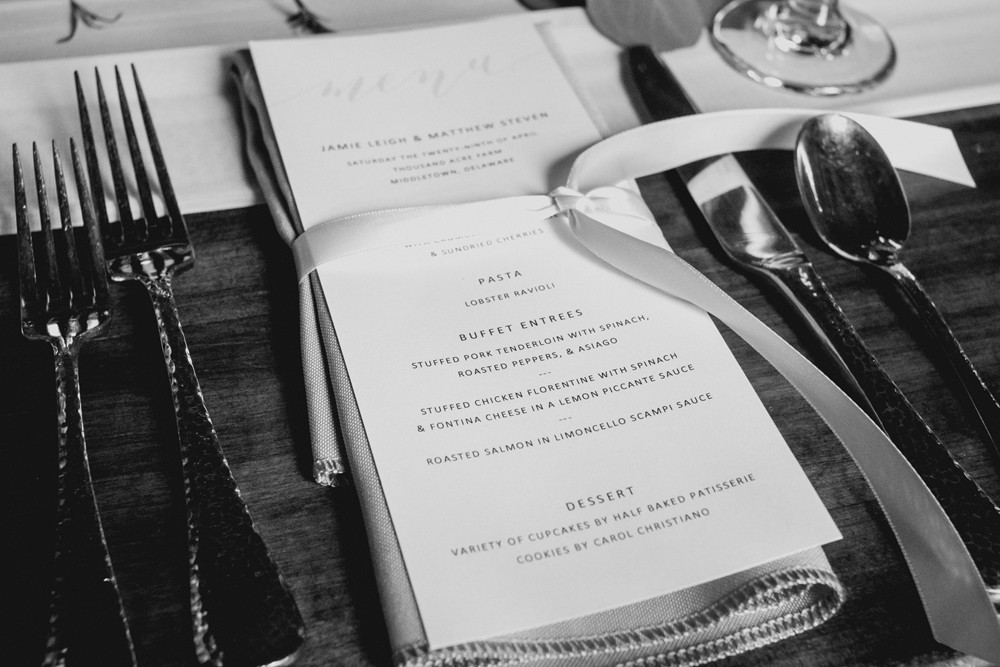 Artistic black and white photo of a catering menu