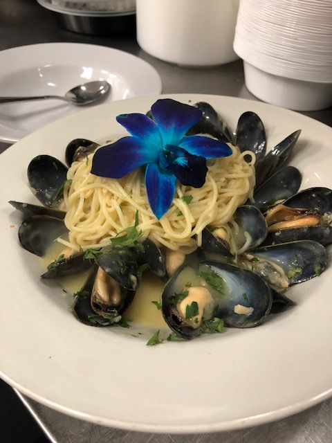 Dish of clams and pasta
