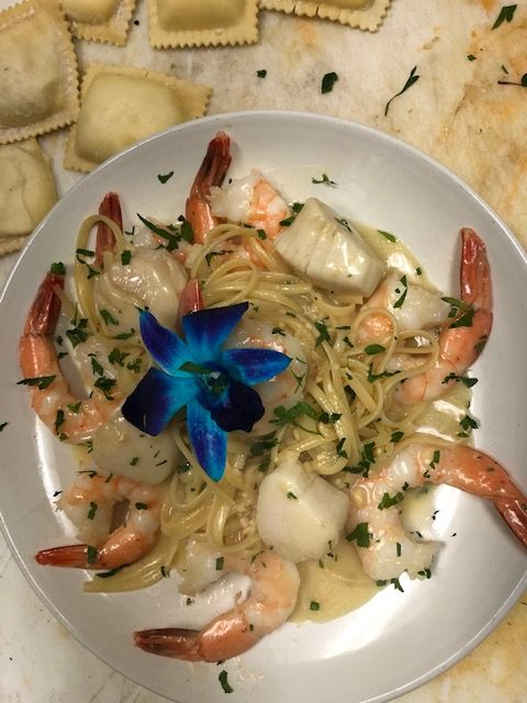Plate with pasta and seafood