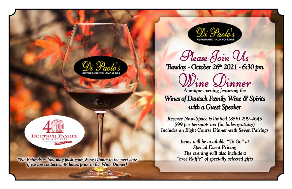 Tuesday, October 26 6:30pm  7 Course Wine Tasting